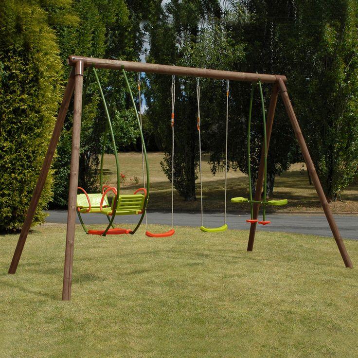 Portique de jeux en pin pour enfants - 4 agrès Naturel - Safran - Les portiques, balançoires et stations de jeux - Jardin - Décoration d'intérieur - Alinéa
