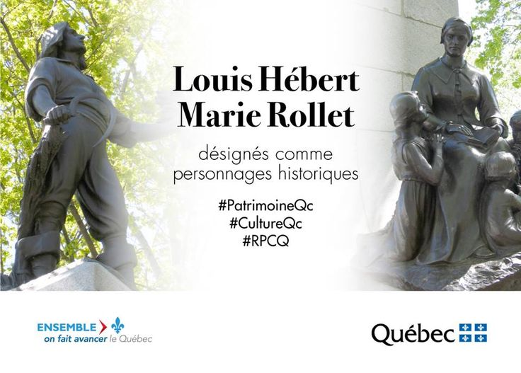 Figures emblématiques de l'histoire de la Nouvelle-France et du Québec, Louis Hébert et Marie Rollet sont désormais désignés comme personnages historiques en vertu de la Loi sur le patrimoine culturel. #PatrimoineQc #RPCQ