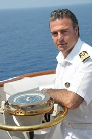 Captain Pietro Scarpato: Started his career with MSC Cargo in 1994 as a 3° officer. In 1999 he moved to the group's passenger vessels, where he was promoted to the position of staff captain in 2006. (update: 2012)