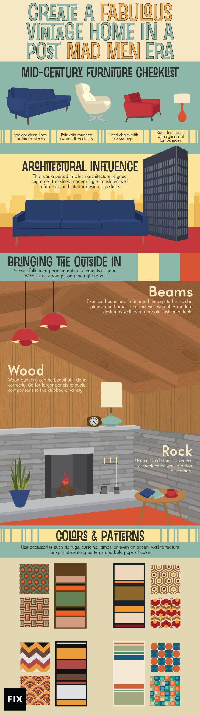 Consult our guide for creating a fabulous vintage look for your home! #MadMen