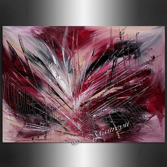 ORIGINAL ABSTRACT PAINTING Red Artwork Oil by largeartwork on Etsy, $299.00