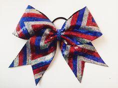 Red, Silver Blue Chevron Cheer Bow