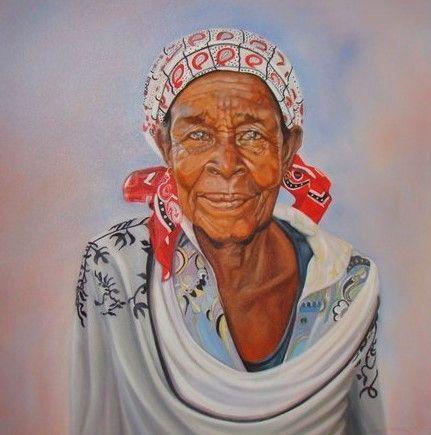 Mozambique woman Oil on canvas 1m x 1m