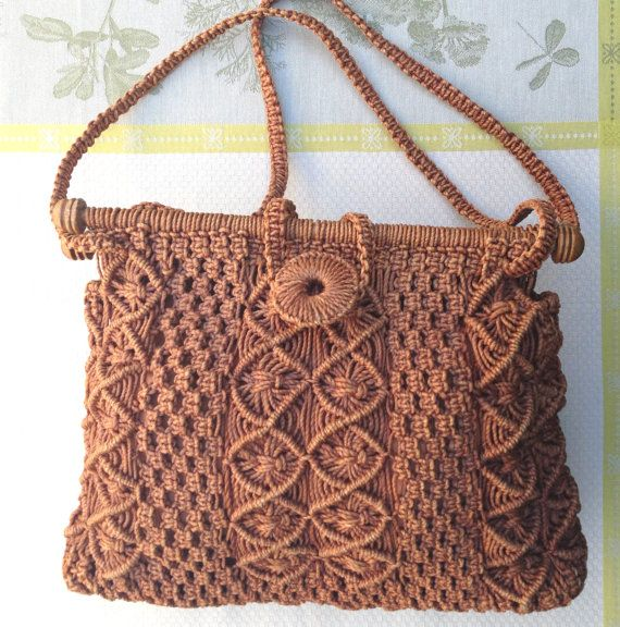 Handmade Rust Colored Jute Beatnik Era Macrame Handbag