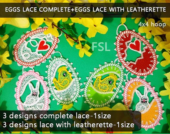Eggs lace complete  eggs lace with leatherette by EmbroideryRady