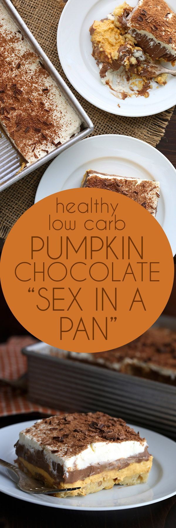 "Rock your world with this low carb ""sex in a pan"". This keto layered pumpkin chocolate dessert is absolutely divine!  via @dreamaboutfood"