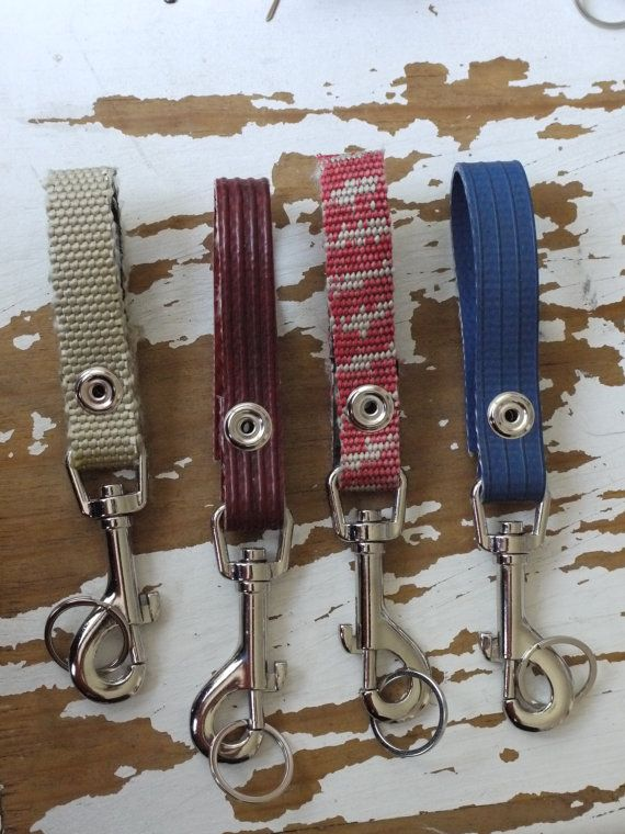 recycled firehose key loop heavy duty by firehosebelts on Etsy