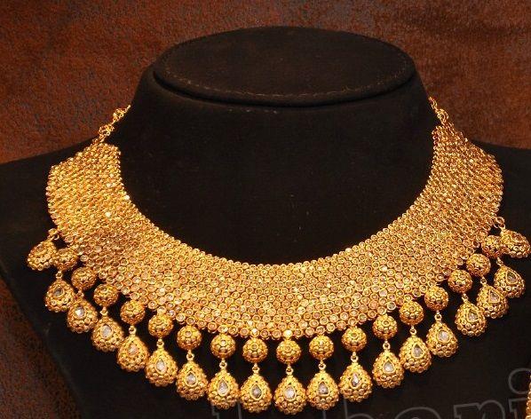 heavy bridal uncut diamond necklace | boutiquedesignerjewellery.com
