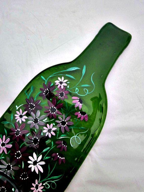 De vidro de garrafas derretido, Bandeja, Garrafa achatado Spoon Rest Trivet, pintado à mão Garrafa de Vinho Verde