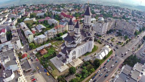 Catedrala Nașterea Domnului in the center of Suceava, Romania.
