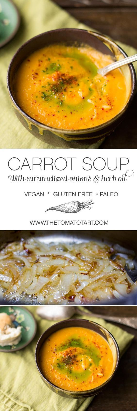 Vegan Carrot Soup with Caramelized Onions (use sweet potatoes to mk it paleo) from http://www.thetomatotart.com