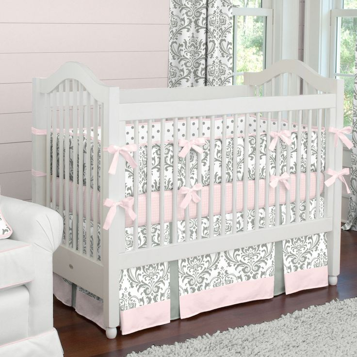 Pink and Gray Traditions Crib Bedding for Baby Girls by Carousel Designs.  Sweet Damask and polka dots create a timeless elegance with just a touch of whimsy in this classic collection. Versatile colors of pink and gray take it to a whole new level. A must have for your little girls nursery.