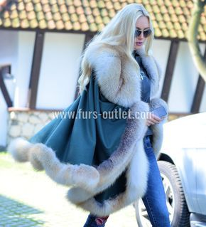 NEW CASHMERE FOX FUR PONCHO CLASS- SABLE MINK CHINCHILLA COAT JACKET CAPE SILVER | eBay