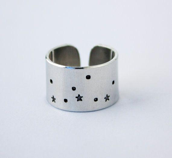 Virgo Zodiac Constellation Ring. Virgo sign constellation jewelry. Wide band zodiac ring. Virgo birthday gift. Astrology. RTS RA018