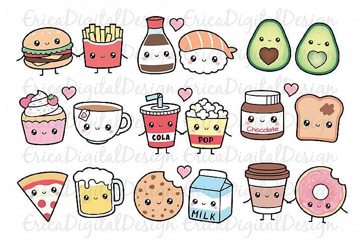 Perfect Match Clipart Set Kawaii Food Best Friend Love 520206 Illustrations Design Bundles Cute Doodle Art Cute Drawings Kawaii Clipart