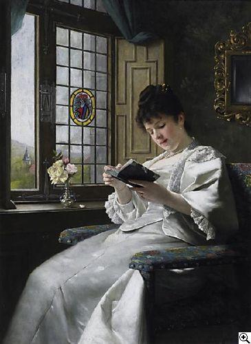 Ernst Anders  (1845 Magdeburg - 1911 Mölln)  Lesende junge Frau im weißen Seidenkleid am Fenster mit Blick in den Schloßgarten