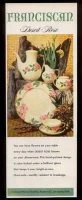 1953 Franciscan Ware Desert Rose plate cup pitcher etc photo vintage print ad