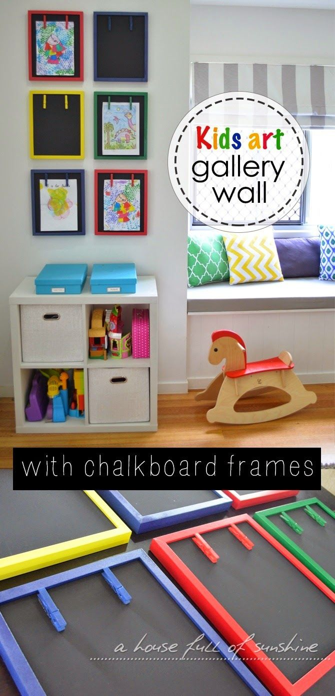 Kids art gallery wall with chalkboard frames - what a fun and practical way to display kids' art!| A house full of sunshine