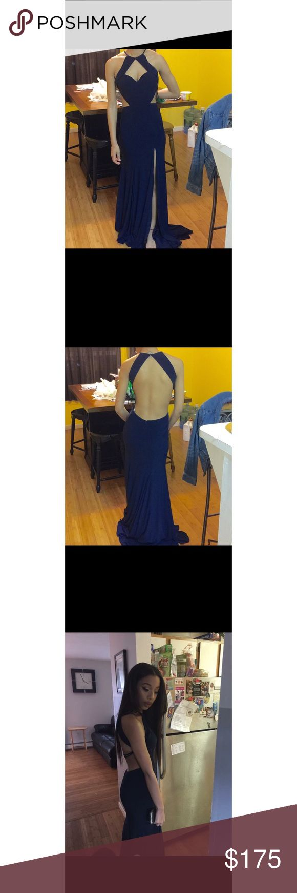 Navy Blue Cutout Prom Dress Cut out prom dress worn once. Fitted and dry cleaned. Dresses Prom