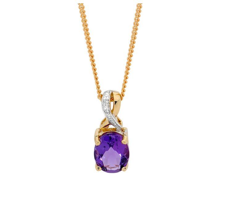 Natural Amethyst & Diamond Pendant (Excludes Chain), Pendants, SJ0369