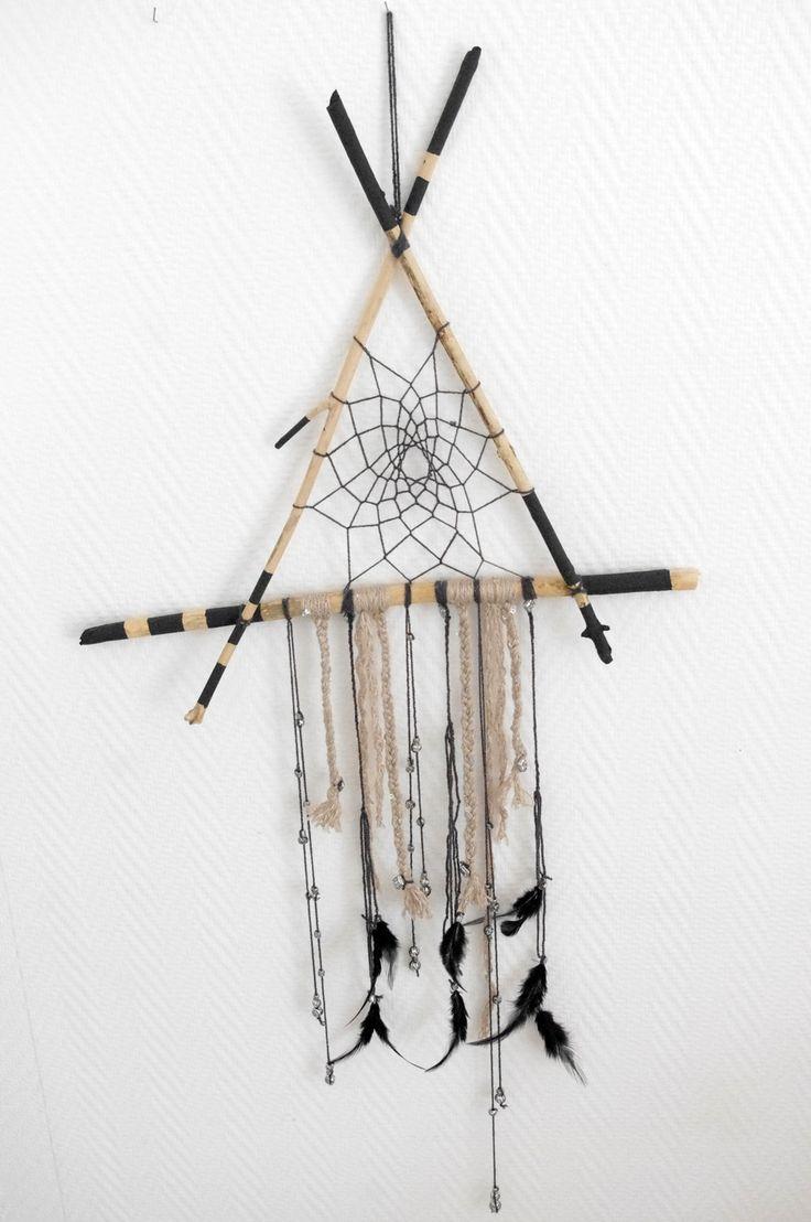 Driftwood dreamcatcher -Attrape rêves gris anthracite en bois flotté : Décorations murales par abracadabroc