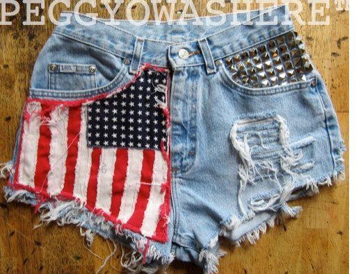 Vtg 1970's faded Lee rag high waist Cut offs denim shorts studs American Flag moto PEGGYOWASHERE design