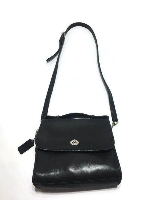 COACH Vintage Classic Court Bag In Black Leather Shoulder Purse J6D-9870 #Coach #Crossbody