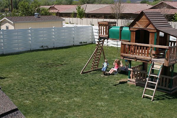 Backyard South view with kids