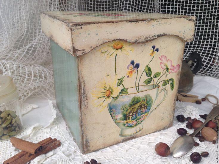 """Купить Короб """"Чашки с цветами"""" - комбинированный, короб для хранения, короб для кухни, короб декупаж"""