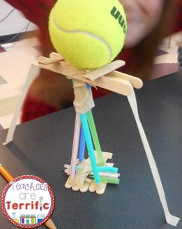 STEM Tower Challenge: Can you build a tower that will support a tennis ball AND use all the supplies? Kids will solve this in so many creative ways! You will be surprised at the clever ways they use every supply!