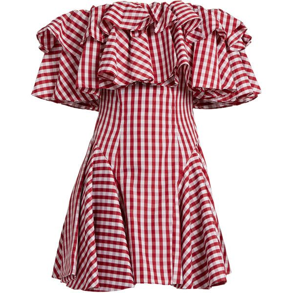 House Of Holland Off-the-shoulder gingham dress (2.265 HRK) ❤ liked on Polyvore featuring dresses, red white, ruffle dress, off shoulder cocktail dress, white cocktail dress, white dress and red cocktail dress