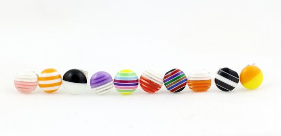 Mix and Match Small Striped Stud Earrings Set - 10 Individual Earrings - Earring Deal - Striped Earrings - Multicoloured Earrings - Set 9