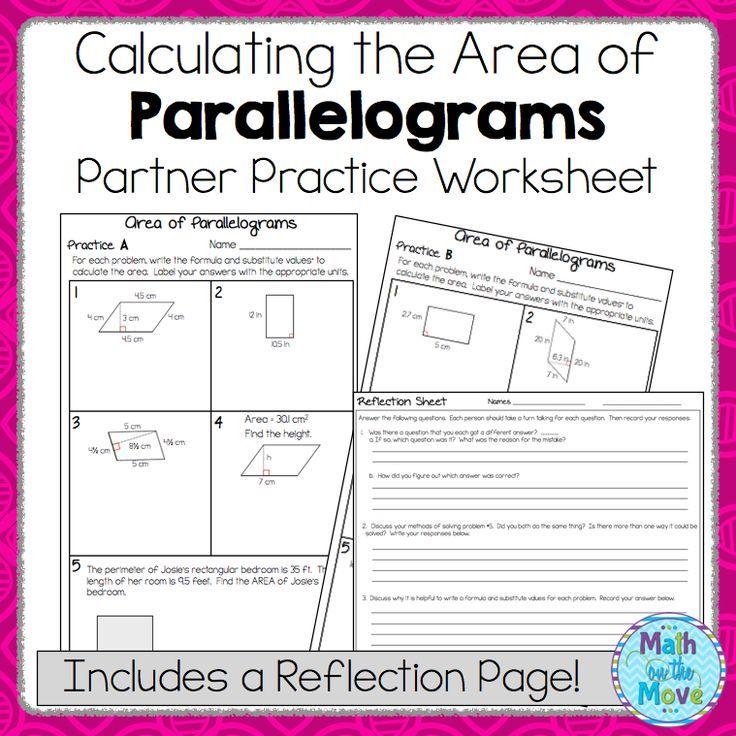 Area of Parallelograms Partner Practice Worksheet (with