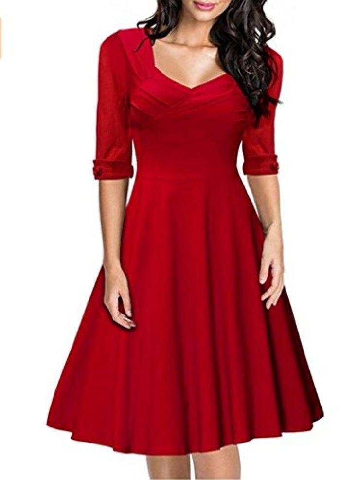 Women's Retro Hepburn Style Half Sleeve Swing Bridesmaid Dress (M, Red) - Brought to you by Avarsha.com