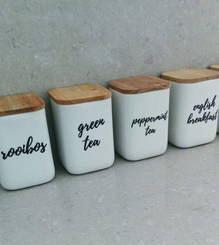 Tea coffee storage, kitchen labels, kitchen cannisters, kitchen storage
