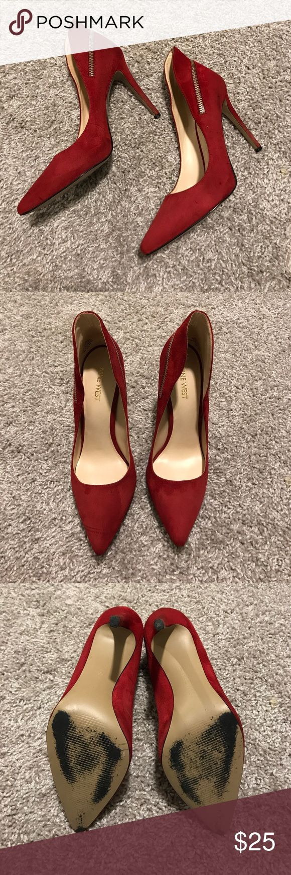 Nine West heels Nine West red pointed toe suede heels with silver zipper.  3 3/4 heels Worn 3 times. Good condition. Leather upper. Nine West Shoes Heels