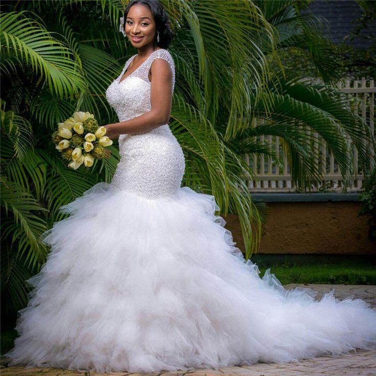 Sexy V Neck Long Train Mermaid Beads Gown Wedding Dress Custom Plus Size 2-28