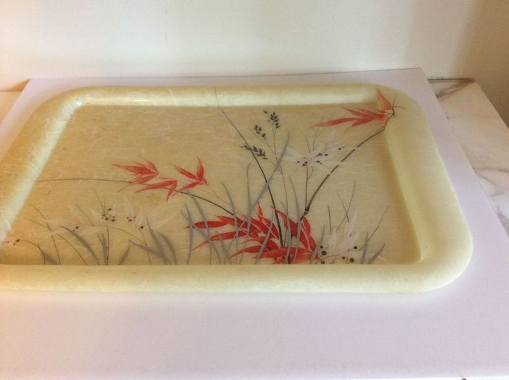 Vintage Molded Plastic Asian serving tray