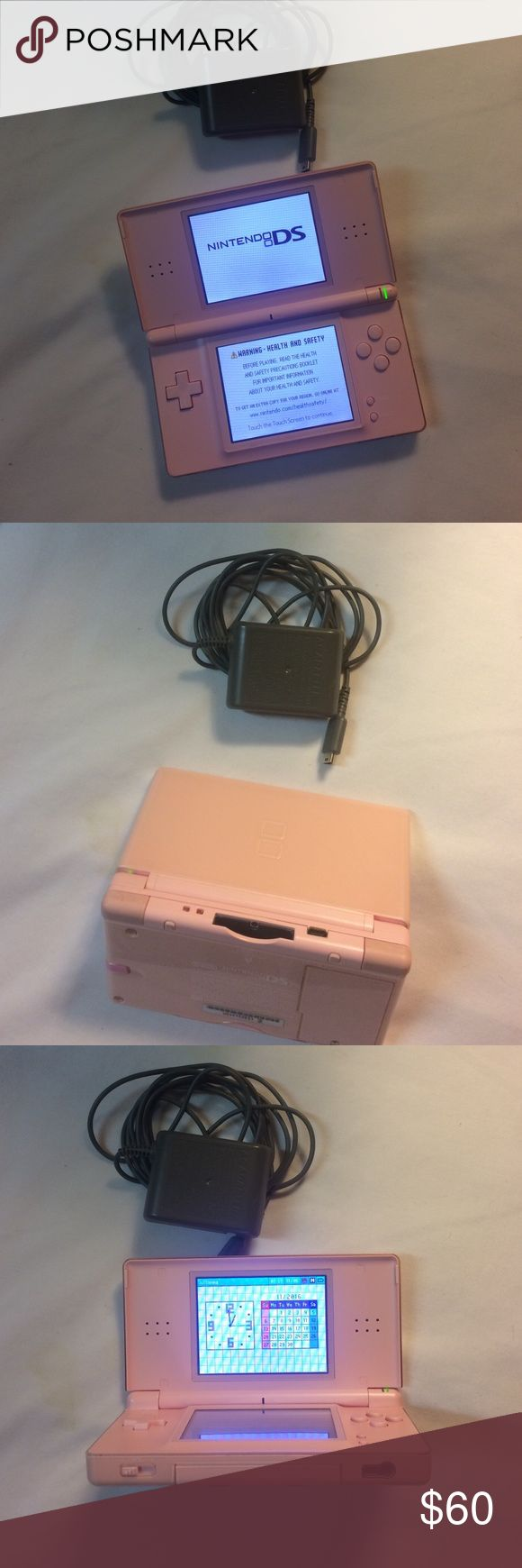 Nintendo DS., pink adult used Light Pink  / charger, pen & Usb AC adapter Nintendo Other