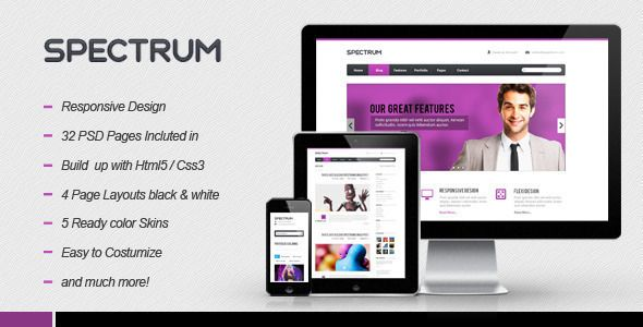 Spectrum is creative and responsive HTML5 theme which is best suited for creative portfolios or blog sites. However with few tweeks it can become clean and professional business site. Spectrum comes in boxed and stretched layout, of which every one has dark and light version along with five premade color styles. So just take a second and explore all of it's possibilities.