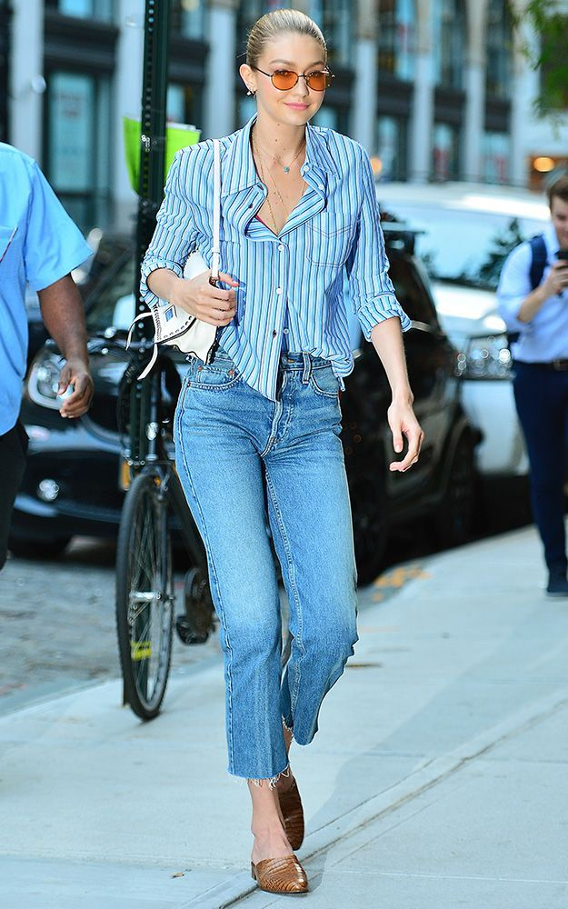 Gigi Hadid's shirt is a work wardrobe staple, and it happens to be very popular on Pinterest right now. See how she styled it here.