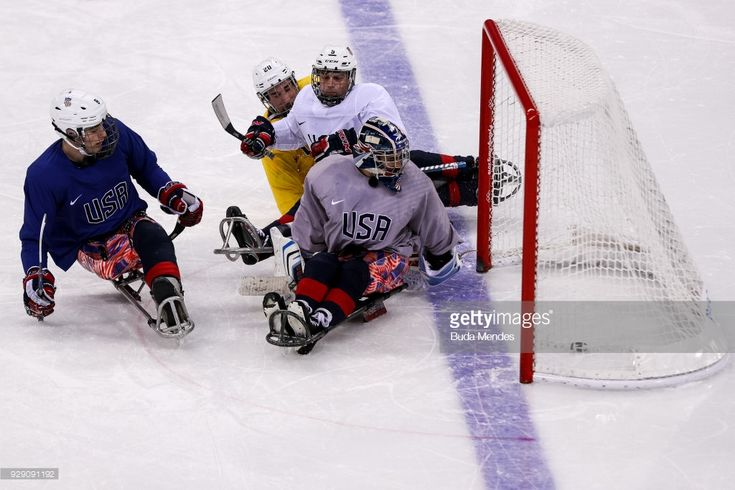 Players of the United States in action during a training session ahead of the PyeongChang 2018 Paralympic Games at Gangneung Hockey Centre on March 08, 2018 in Gangneung, South Korea.
