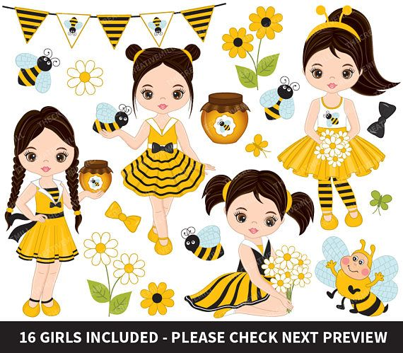ITEM Bee Girls Clipart
