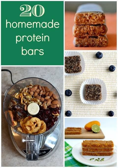 20 Homemade protein bars from Meal Makeover Moms   http://papasteves.com