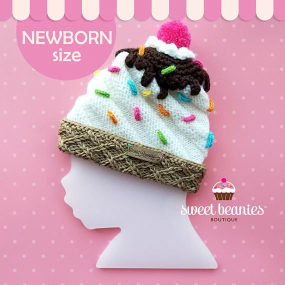 »»------ A SWEET TREAT just off the needles for you! ------«« BRAND NEW (never worn), this ADORABLE Swirled Hand-knit Ice Cream Sundae Beanie is: ✦ the perfect gift for a new baby, birthdays or holidays ✦ makes a one-of-a-kind photo prop ✦ is a wonderful cold-weather hat for