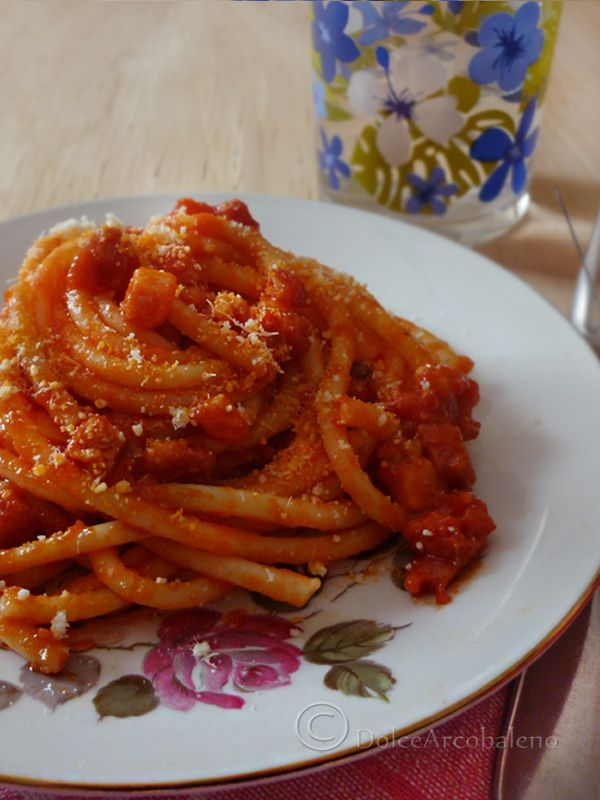 """Bucatini all'Amatriciana - delicious dish but you  got to get the right ingredients! Buy high quality Italian made pasta """"bucatini style"""" the thickest of spaghetti family, """"guanciale"""" NOT BACON , bacon is different and different part of the pork, fresh ripe tomatoes peeled, Pecorino Romano DOP, lard, red chili flakes and salt. This is the authentic recipe nothing else! NO ONION NO GARLIC"""