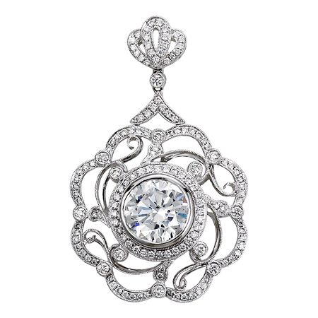 PM23736: This pendant defines modern elegance with its fine quality brilliants and interchangeable center stone. It features 1.3ct premium cut round diamonds set in 18K white gold.