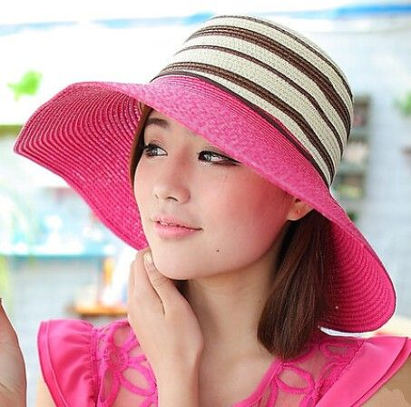 Fashion striped floppy straw hat for women UV protection