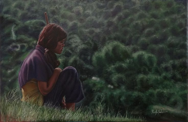 THE GIRL IN THE FOREST, 36 & 24 Inches, Oil on Canvas, That is young girl from an average family. Most girls in the villages are made to get married at a very early age as that is how the village's tradition goes. Probably she is worried about the man who may be her husband.