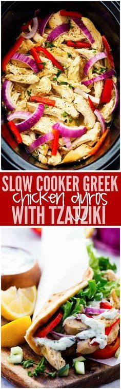 Easy to make chicken gyros that only take minutes to throw into the slow cooker! They are light and delicious and packed with amazing greek flavor!